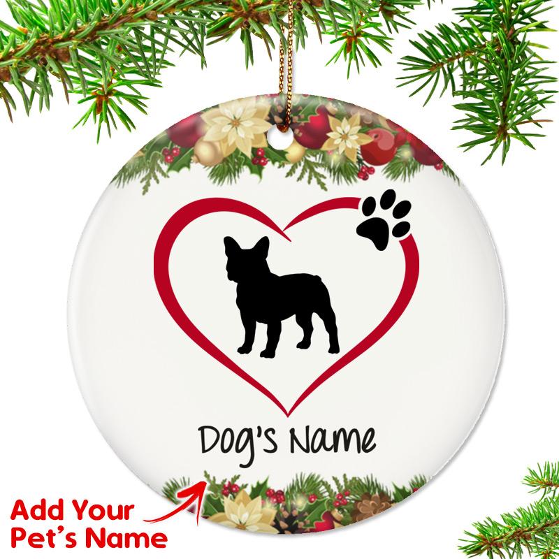 French Bulldog Christmas Ornament.I Love My French Bulldog Ornament