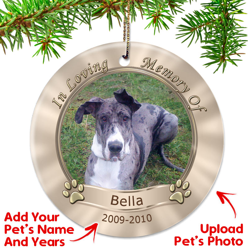 Memorial Christmas Ornaments.Personalized Dog Memorial Photo Christmas Ornament