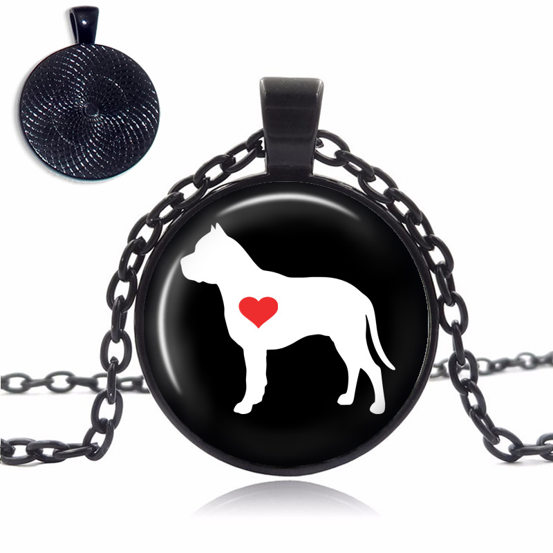 Pit Bull Love Glass Dome Necklace