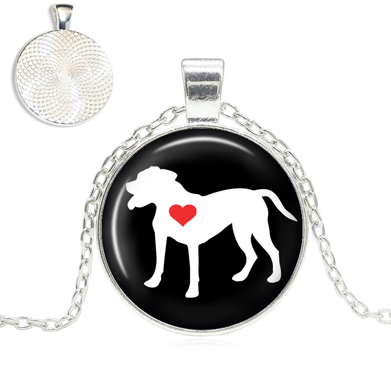 Pit Bull Natural Ears Love Glass Dome Necklace