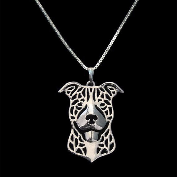 Pit Bull Boho Cutout Necklace - Natural Ears