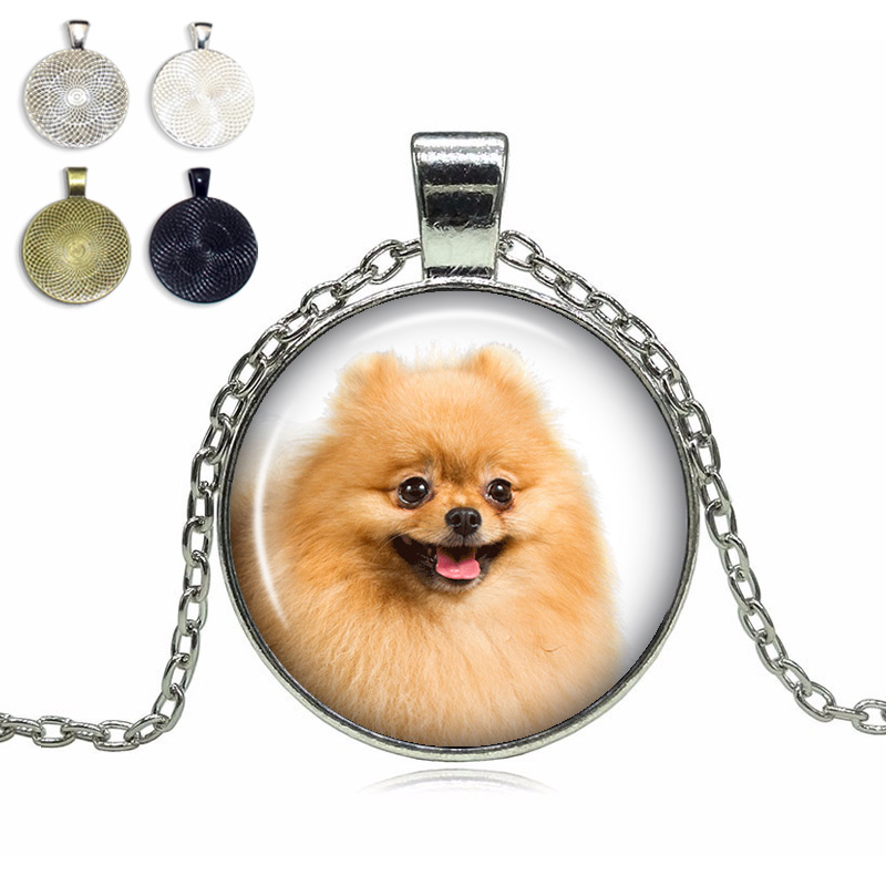 Pomeranian Glass Dome Necklace