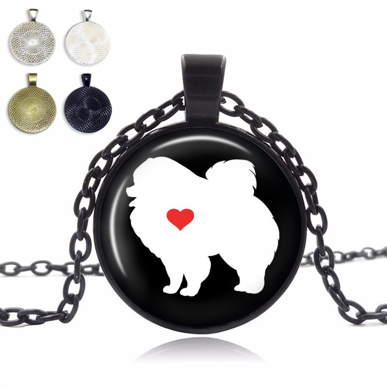 Pomeranian Love Glass Dome Necklace