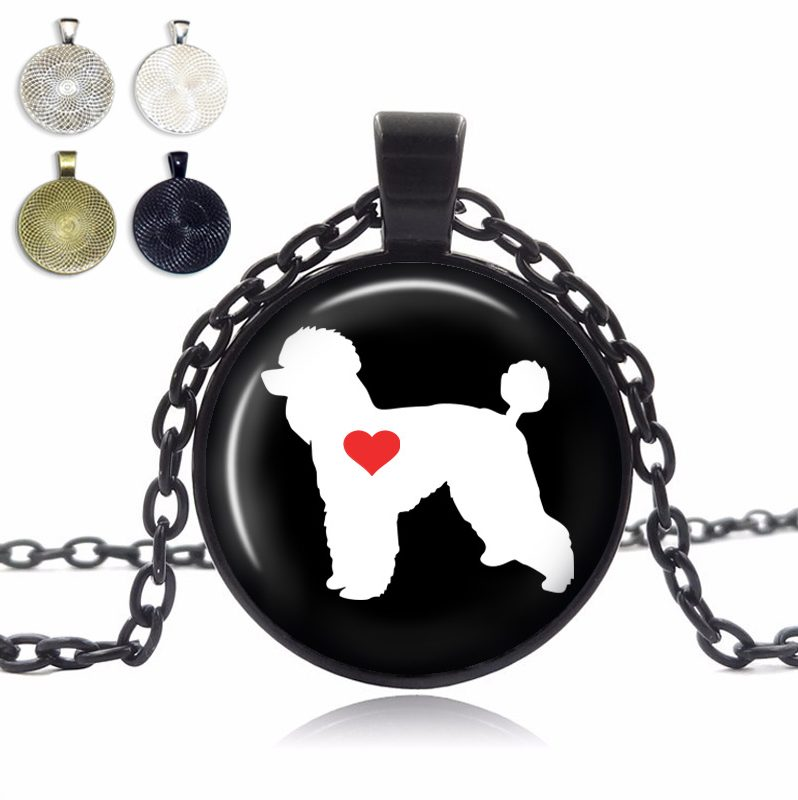 Poodle Love Glass Dome Necklace