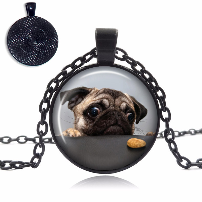 Pug Cookie Glass Dome Necklace
