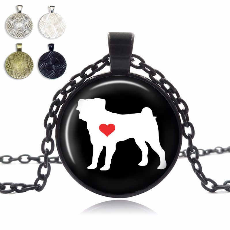 Pug Love Glass Dome Necklace