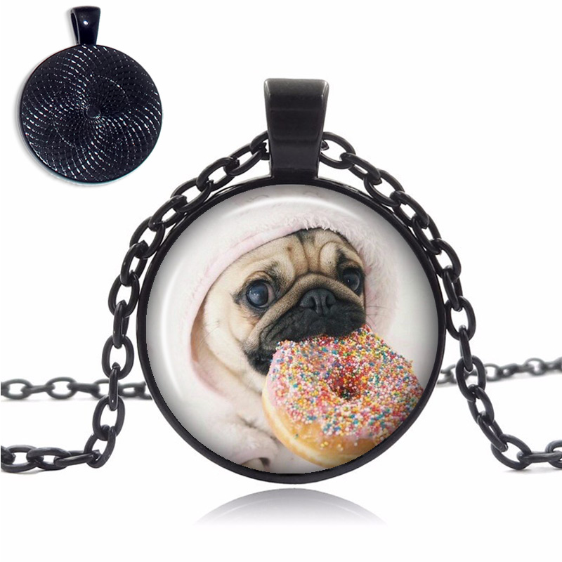 Pug With Donut Glass Dome Necklace