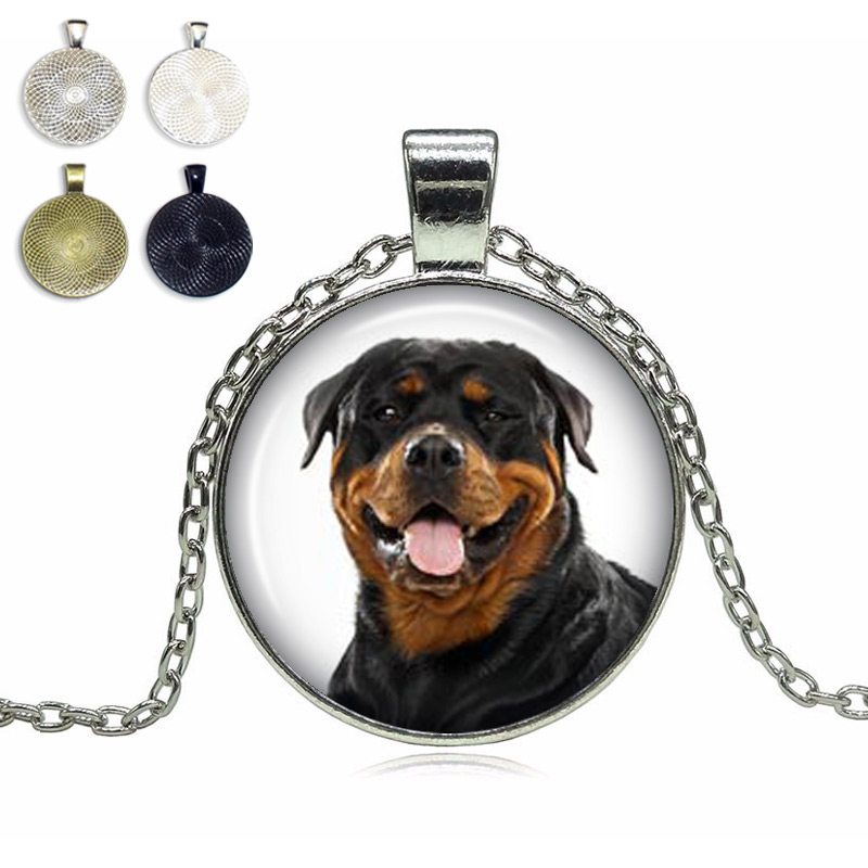 Rottweiler Glass Dome Necklace