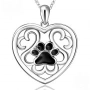 S925 Black Paw in Heart Necklace