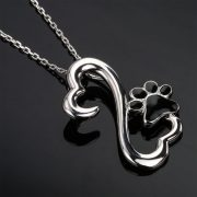 S925 Black Paw in Twin Hearts Necklace