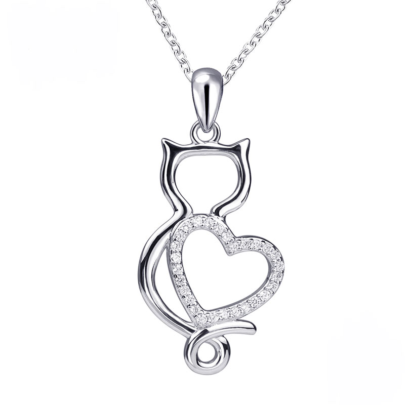 S925 Cat with Cubic Zirconia Heart Necklace