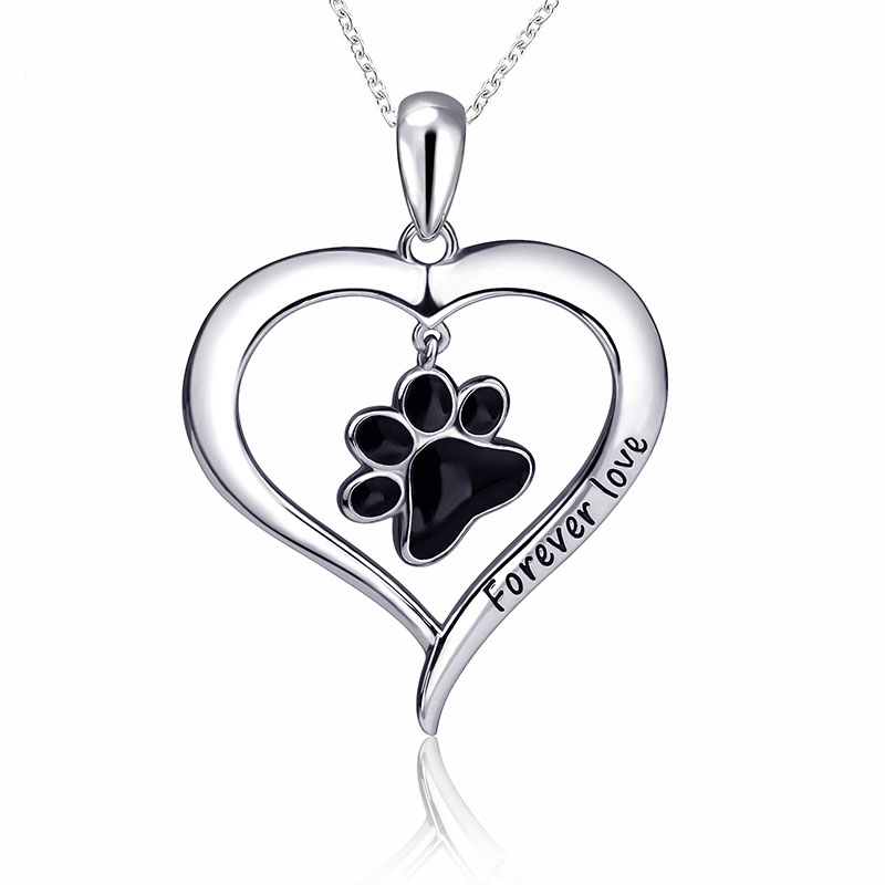 S925 Forever Love Black Paw in Heart Necklace