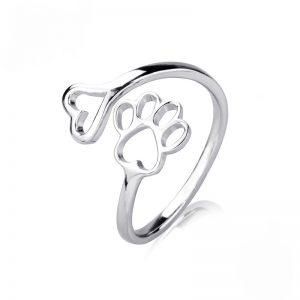 S925 Heart and Paw Wrap Ring
