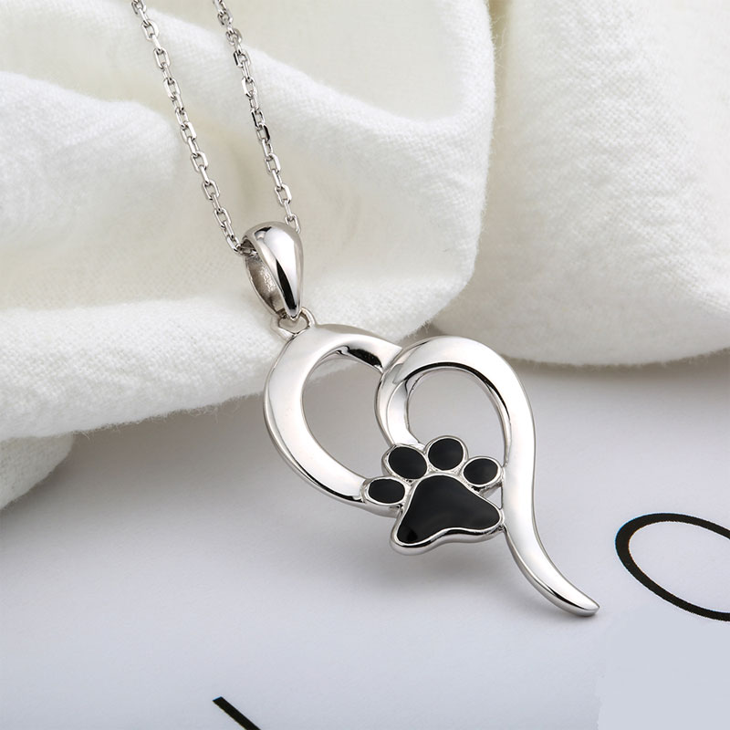 S925 Hollow Heart with Black Paw Necklace