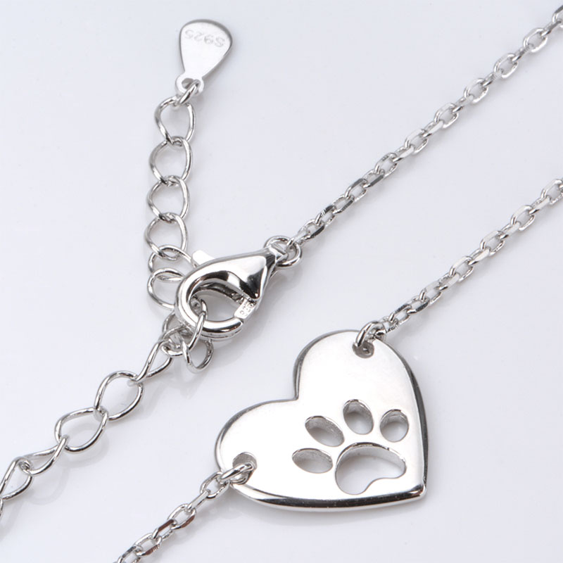 S925 Hollow Paw in Heart Necklace