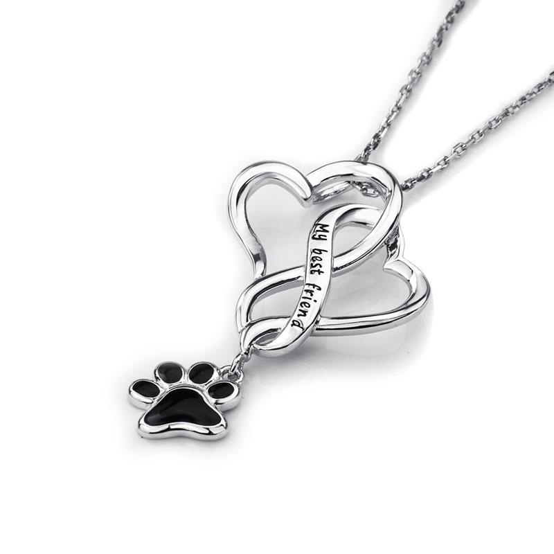 S925 My Best Friend Black Paw Necklace