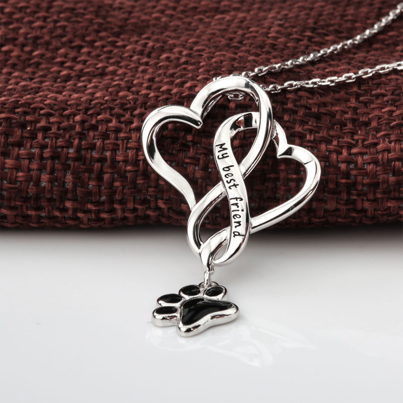 S925 My Best Friend Black Paw Necklace