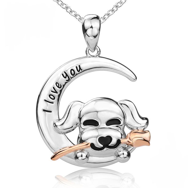 S925 Puppy with Rose Necklace