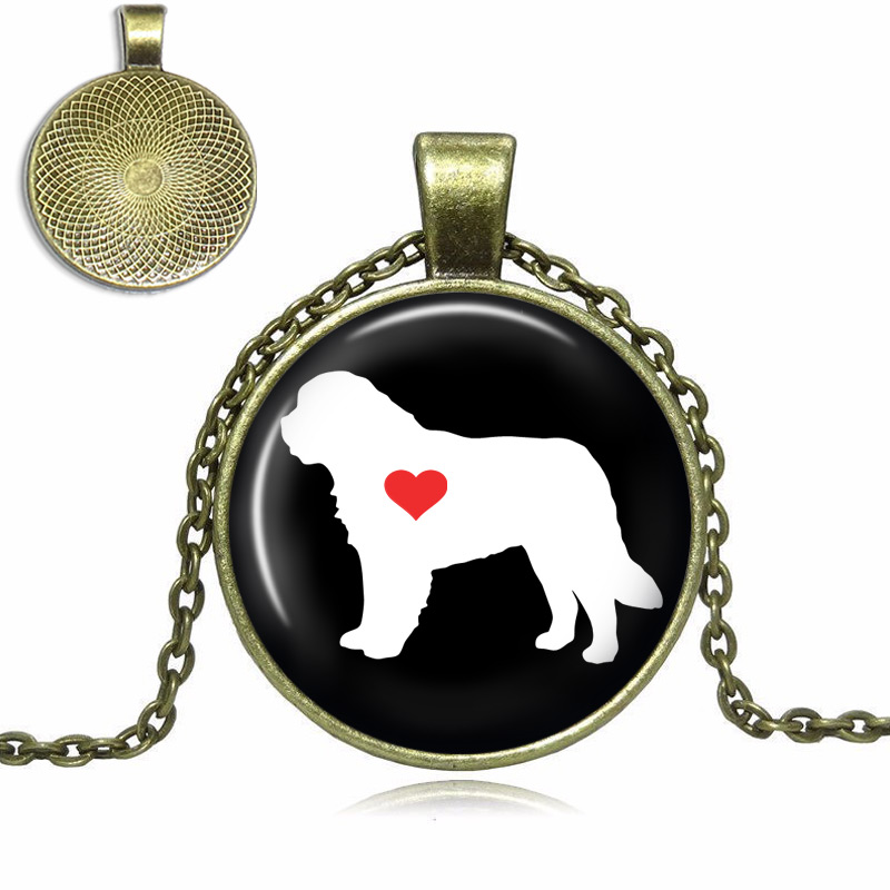 Saint Bernard Glass Dome Necklace