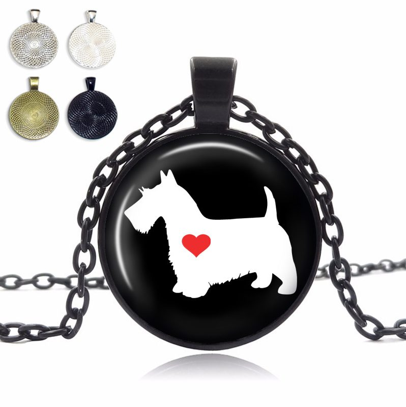 Scottish Terrier Love Glass Dome Necklace