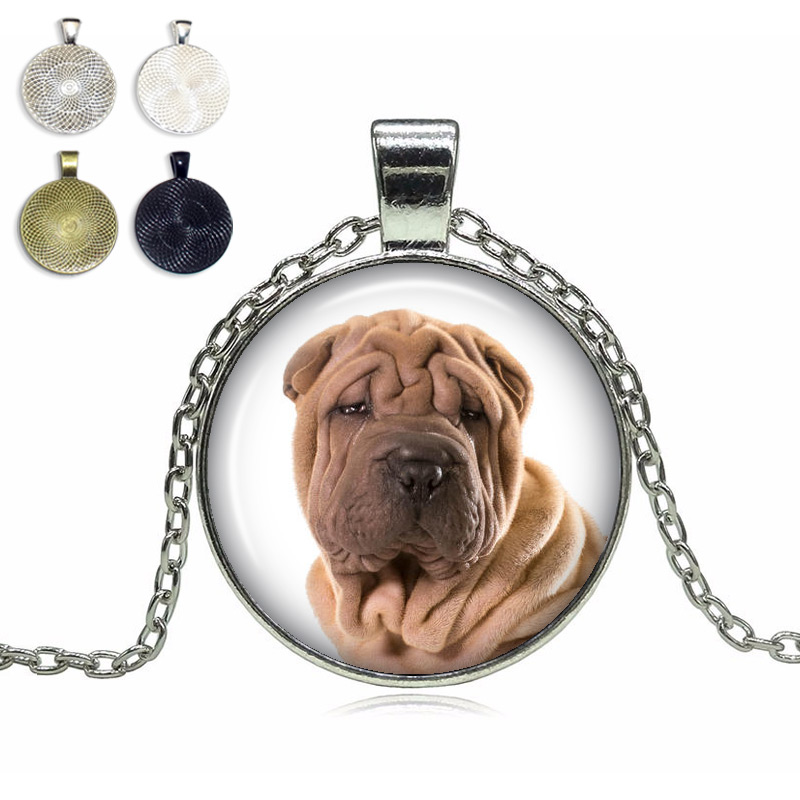 Shar Pei Glass Dome Necklace