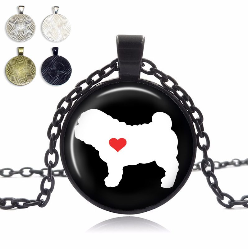 Shar Pei Love Glass Dome Necklace