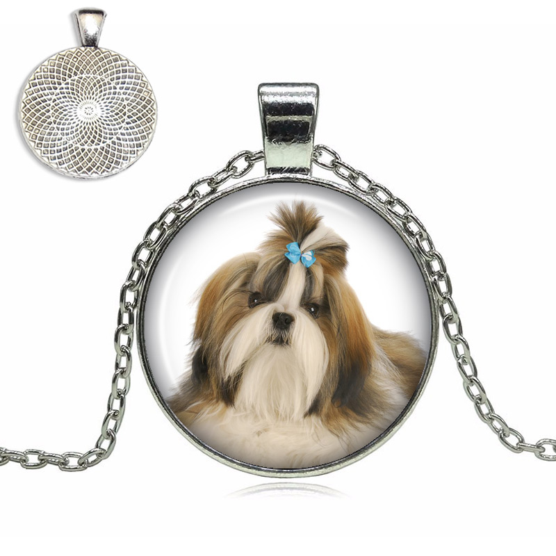 shih tzu necklace shih tzu glass dome necklace top pet gifts 4404