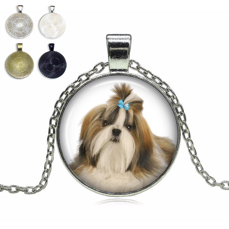 Shih Tzu Glass Dome Necklace