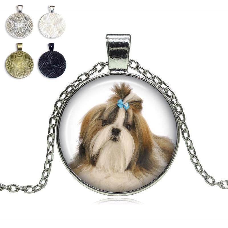 Shih Tzu Glass Dome Necklace