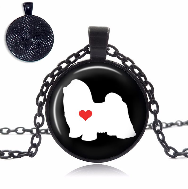 Shih Tzu Love Glass Dome Necklace