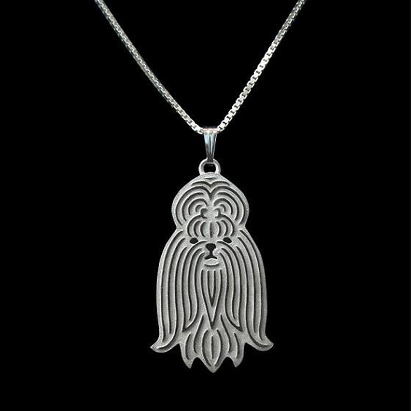 Shih Tzu Boho Cutout Necklace - Long Hair