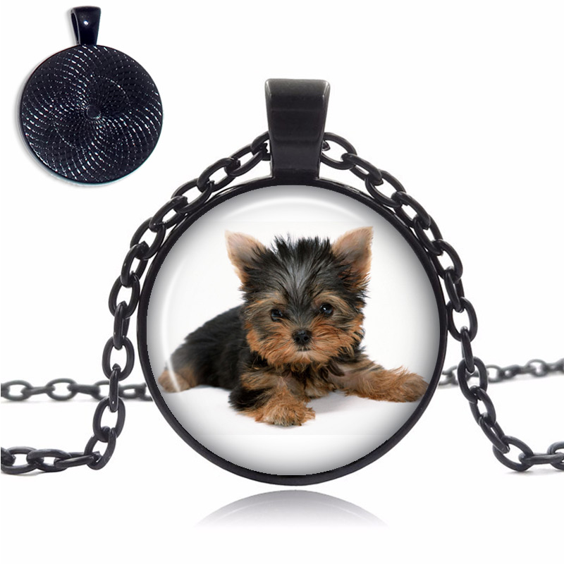 Short Hair Yorkshire Terrier Glass Dome Necklace