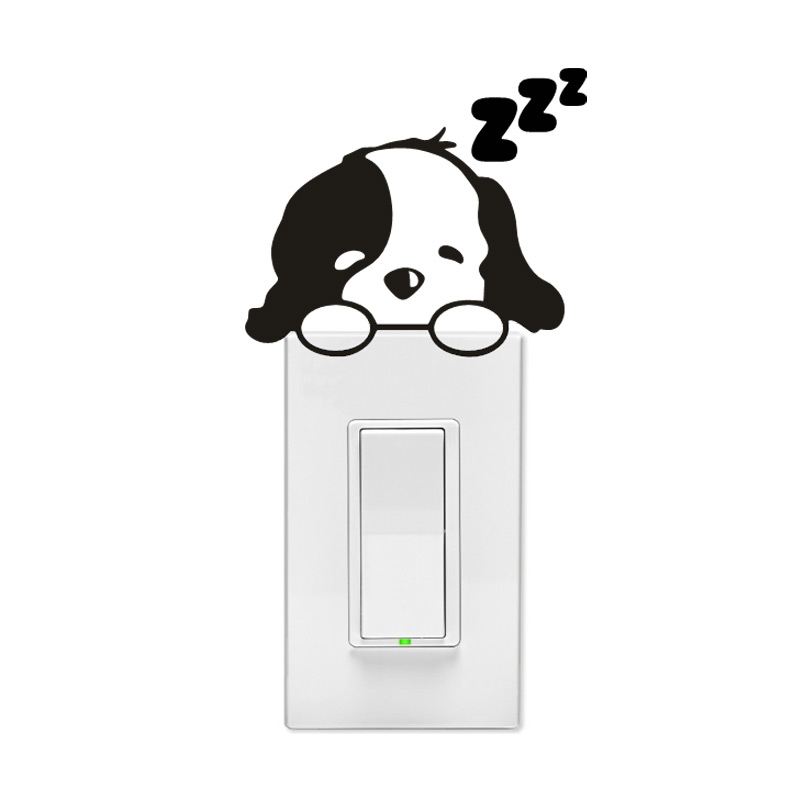 Sleepy Puppy Dog Wall Light Switch Decal