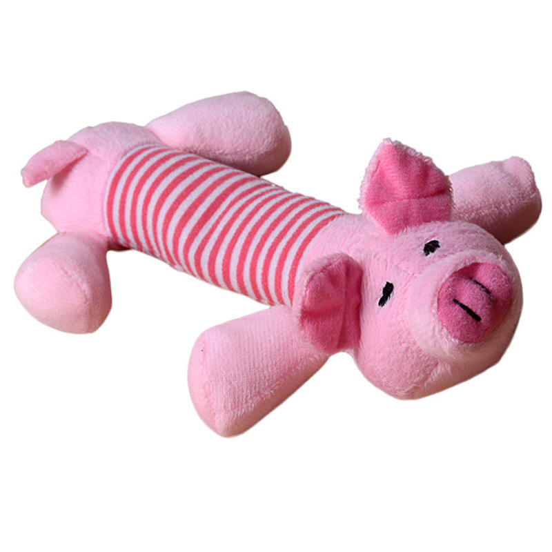 Squeaky Plush Dog Toy – Pig