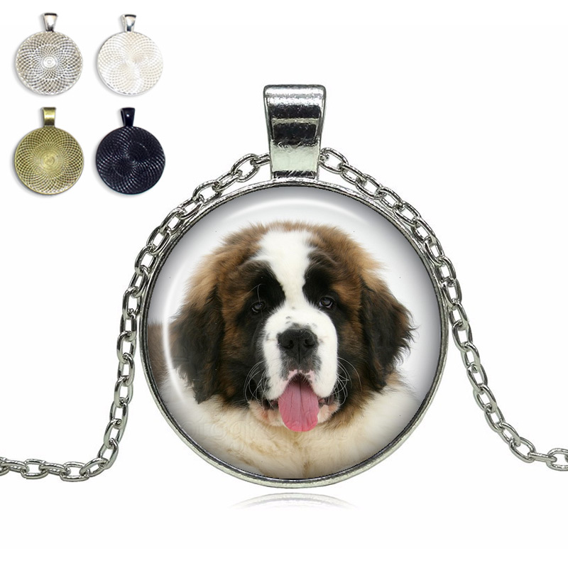 St. Bernard Glass Dome Necklace