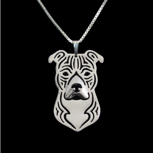 Staffordshire Terrier Boho Cutout Necklace