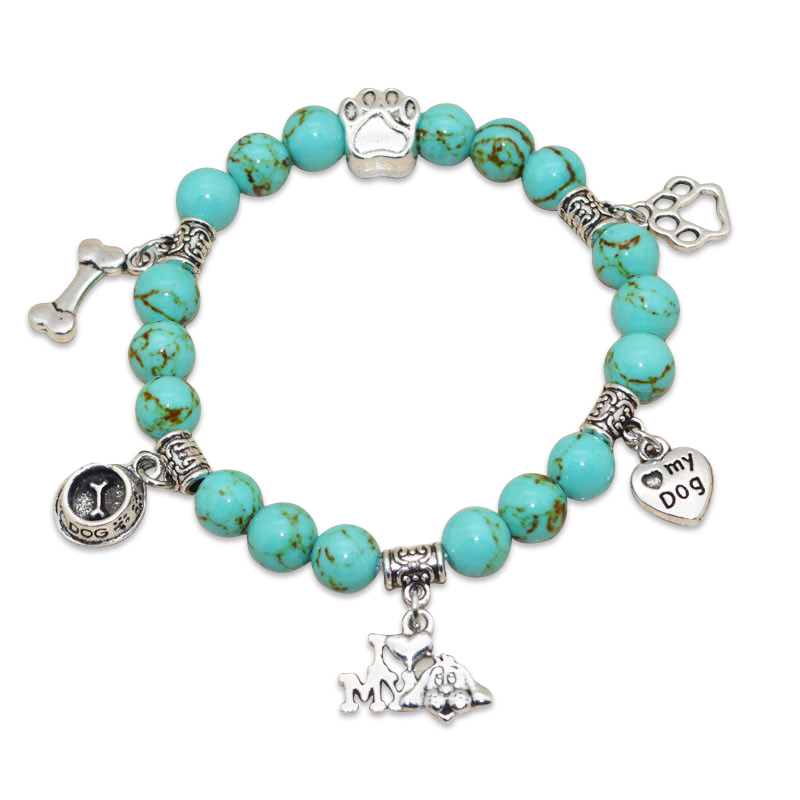 """I Love My Dog"" Turquoise Beaded Bracelet"