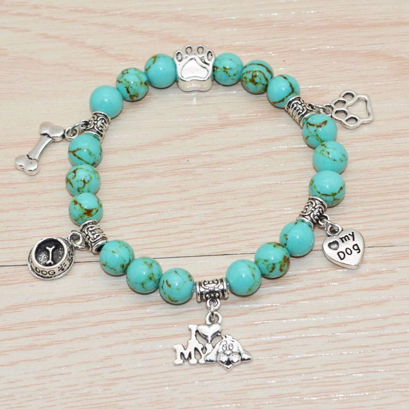 Turquoise Beaded Bracelet I Love My Dog