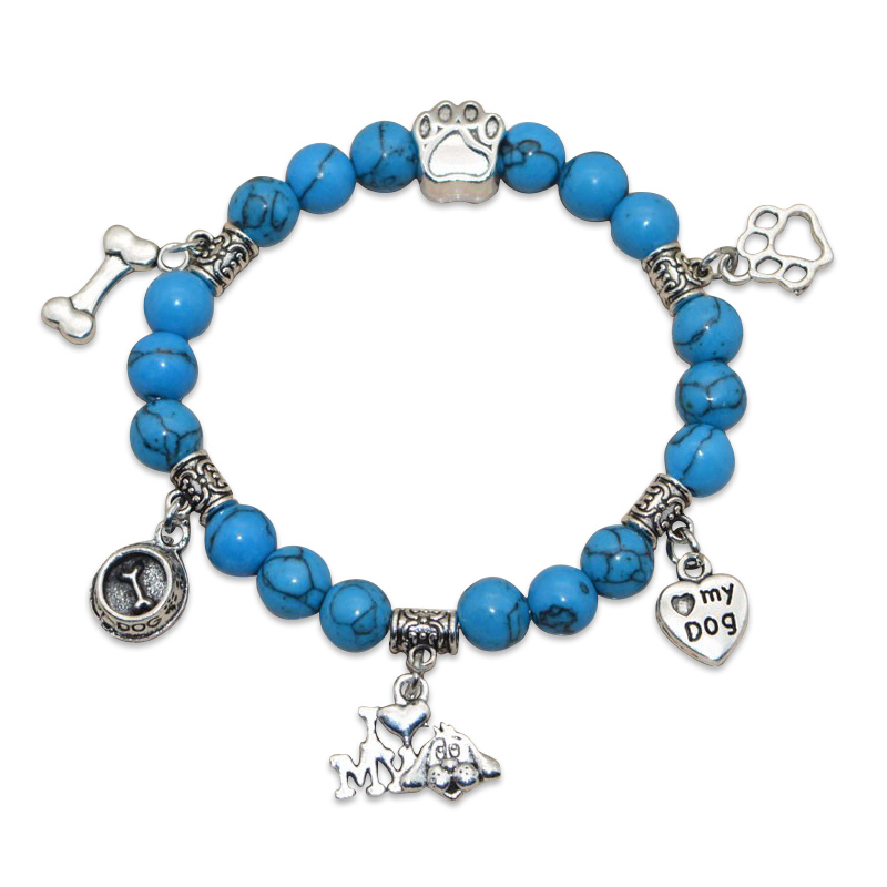 """I Love My Dog"" Turquoise Beaded Bracelet Blue"