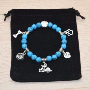 Turquoise Beaded Bracelet I Love My Dog blue