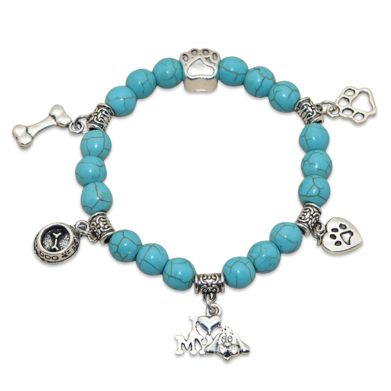 """I Love My Dog"" Turquoise Beaded Bracelet Light Blue"