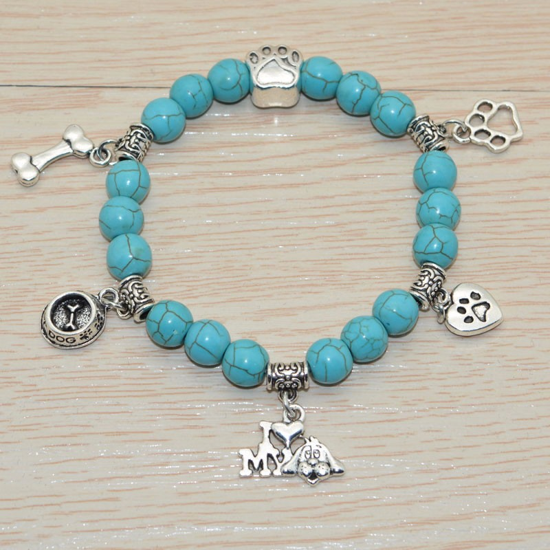 Turquoise Beaded Bracelet I Love My Dog light blue