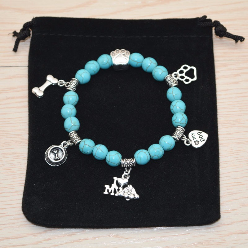 Turquoise Beaded Bracelet I Love My Dog light blue