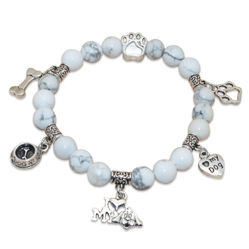 """I Love My Dog"" Turquoise Beaded Bracelet White"