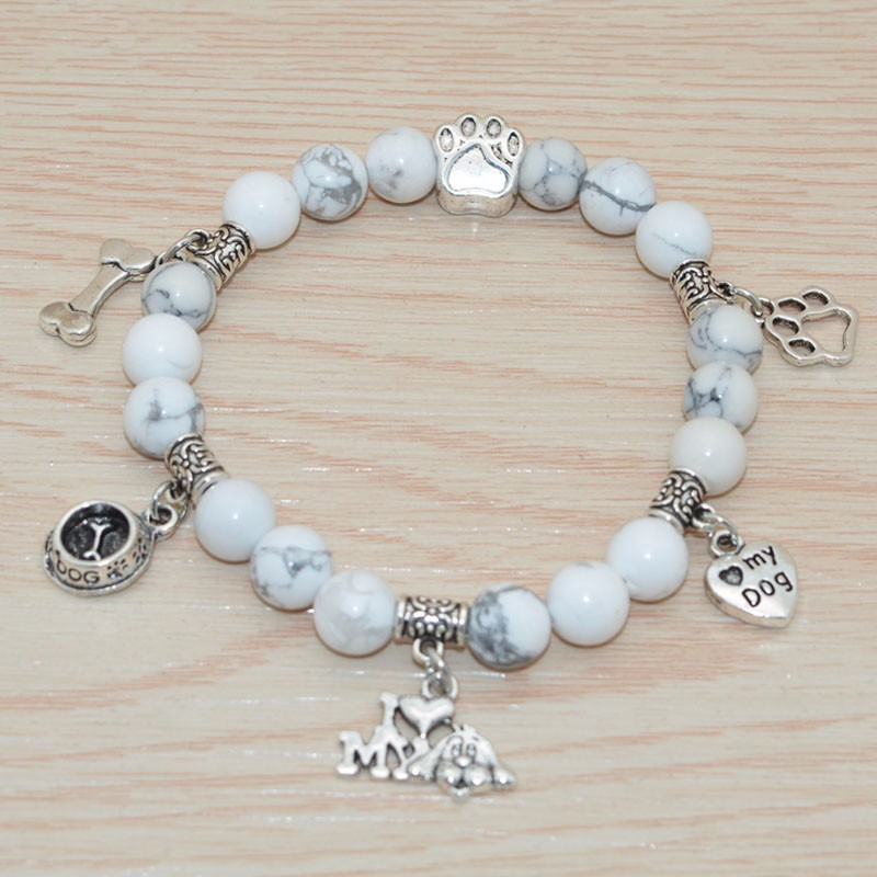 Turquoise Beaded Bracelet I Love My Dog white