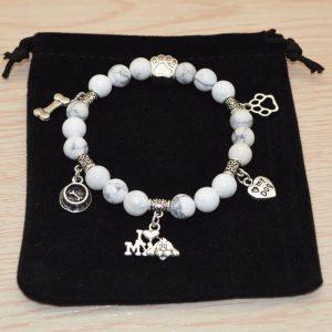Turquoise Beaded Bracelet I Love My Dog white