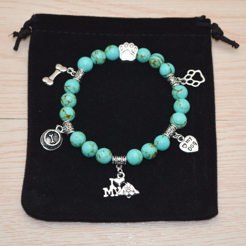 Turquoise Beaded Bracelet I Love My Dog