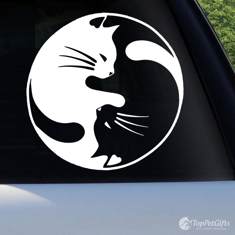 Two Cats Yin Yang Decal