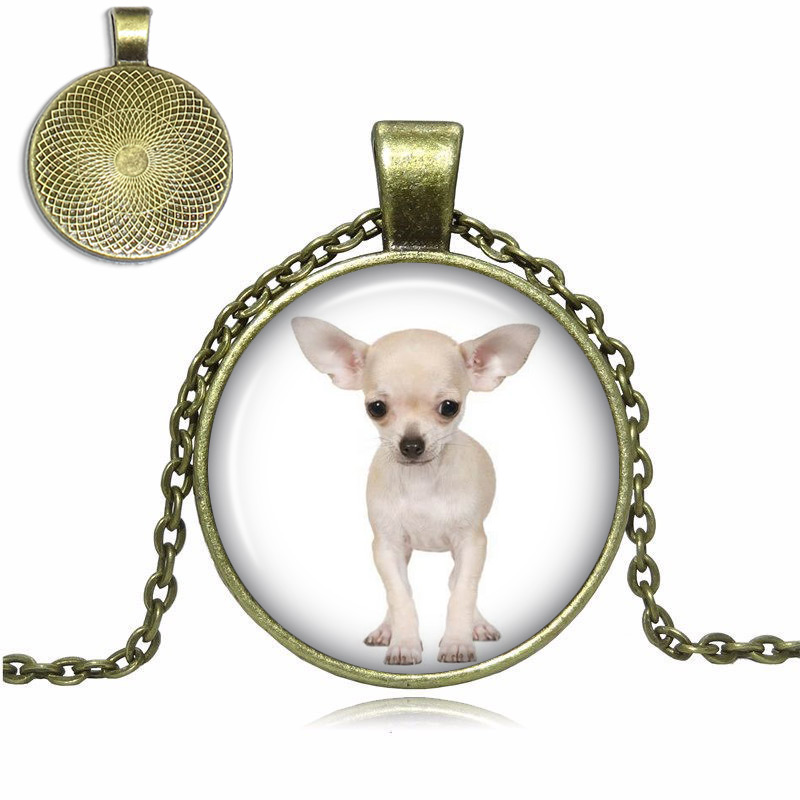 White Chihuahua Glass Dome Necklace