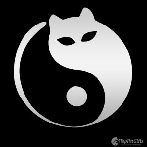 Yin Yang Cat Decal Silver